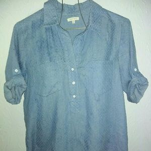 New Under Skies M Blue Cotton Shirt Perforated